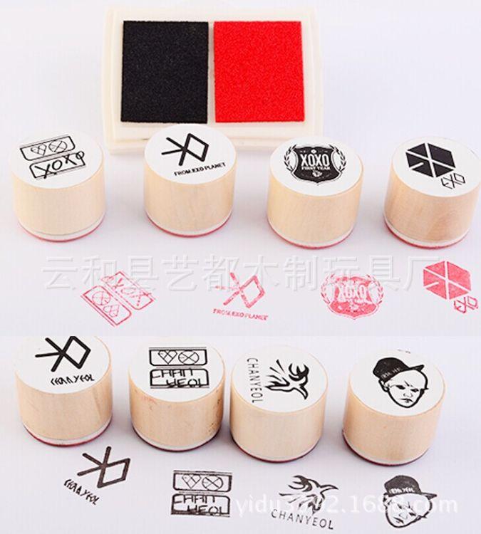 定制厂家 木制玩具印章 木质圆形装饰日记印章 木头成品半成品