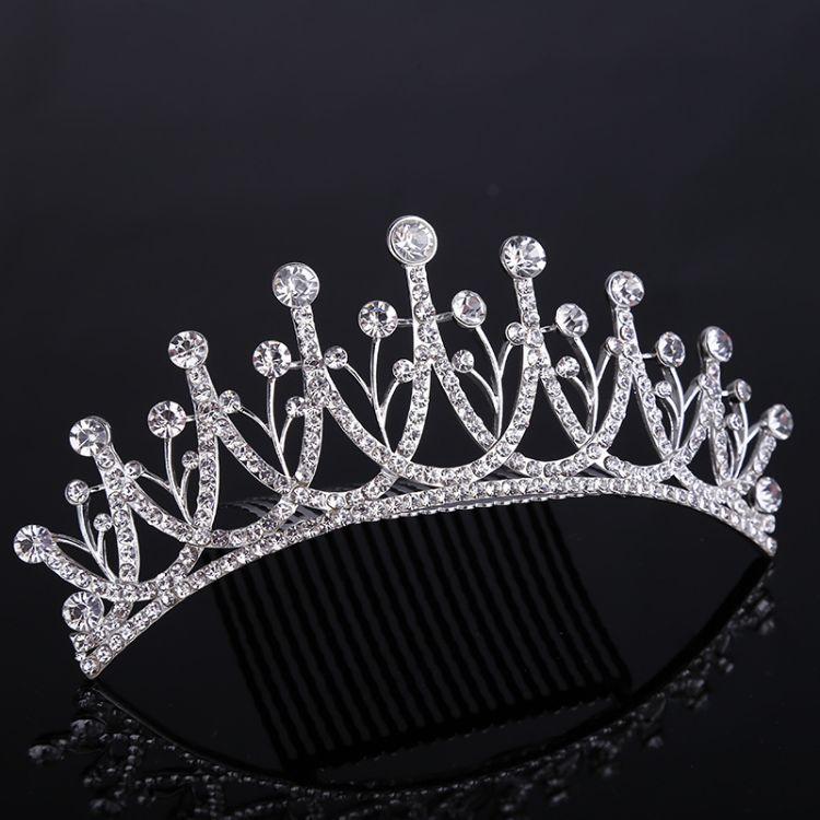 闪亮水钻新娘大皇冠 婚礼宴会时尚头饰结婚头箍头冠厂家底价货源