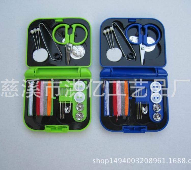 迷你便携针线盒套装  塑料折叠针线盒 方形针线盒 迷你裁缝小工