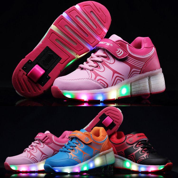 2017夏季新款LED亮灯发光暴走鞋儿童正品男女成人轮滑鞋童鞋