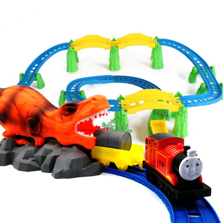 电动轨道车恐龙场景小火车套装男女孩儿童轨道拼装火车玩具批发