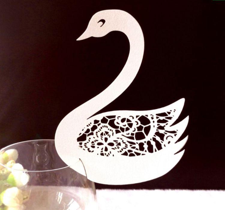 激光镂空杯卡 儿童节小鸭子席位卡 粉色酒杯桌卡 漂亮小卡片定制