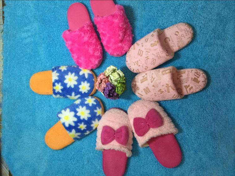 新款擦地拖鞋 优雅玫瑰毛居家室内擦地拖鞋