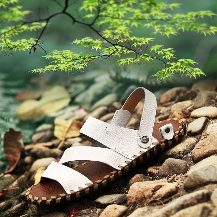 2015夏季新款休闲透气真皮凉鞋男 时尚男士沙滩鞋 潮凉拖休闲男鞋