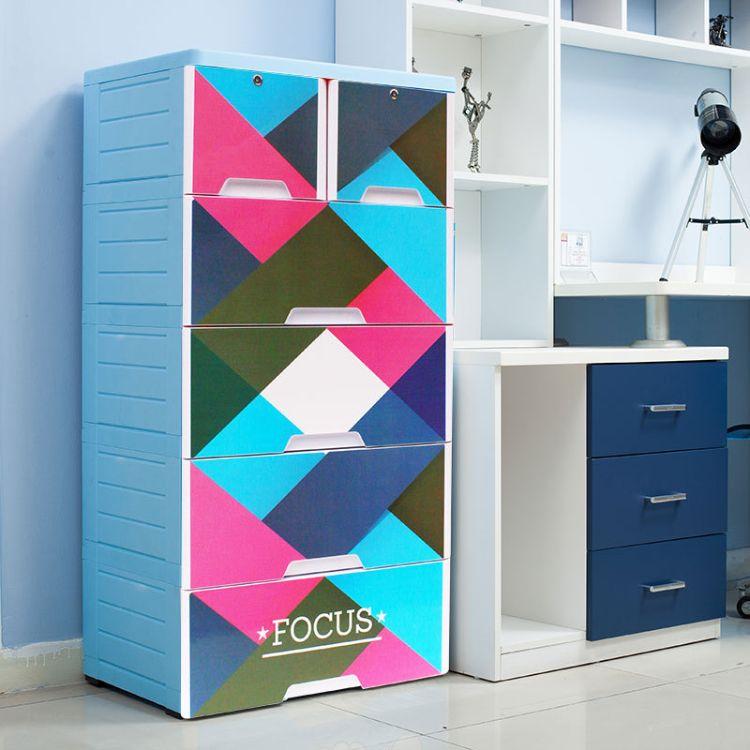 欧式抽屉收纳柜婴儿宝宝衣柜塑料储物柜自由组装儿童卡通衣物收纳柜
