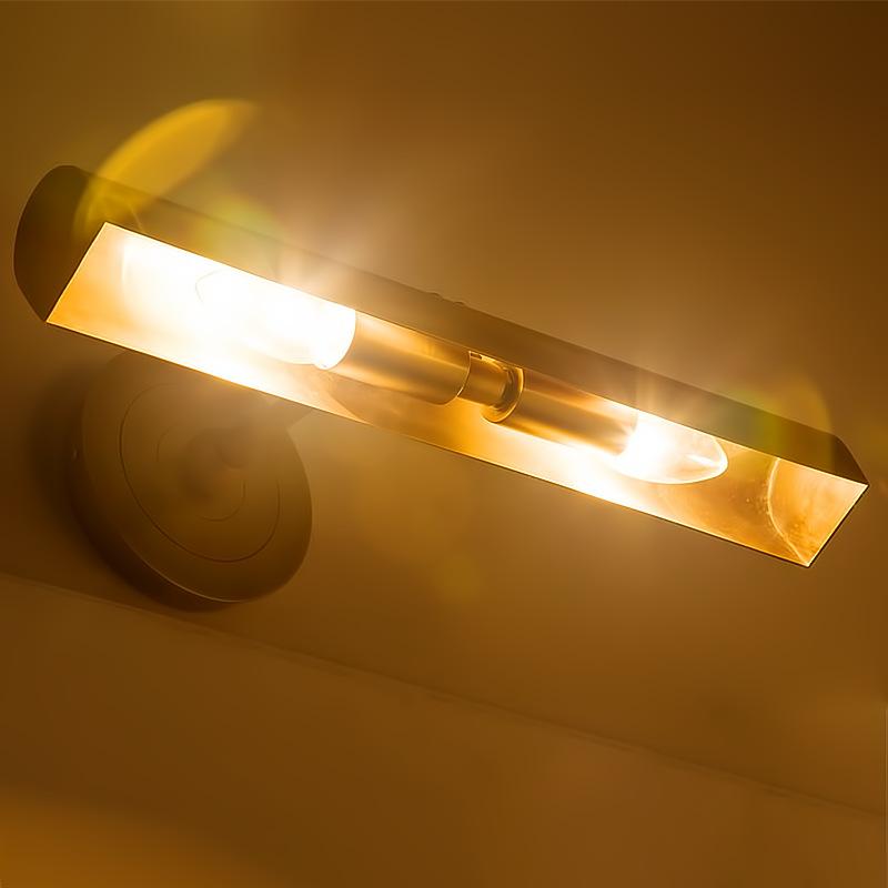 美式全铜镜前灯 LED浴室 防水防锈镜灯 卧室简约复古铜画灯