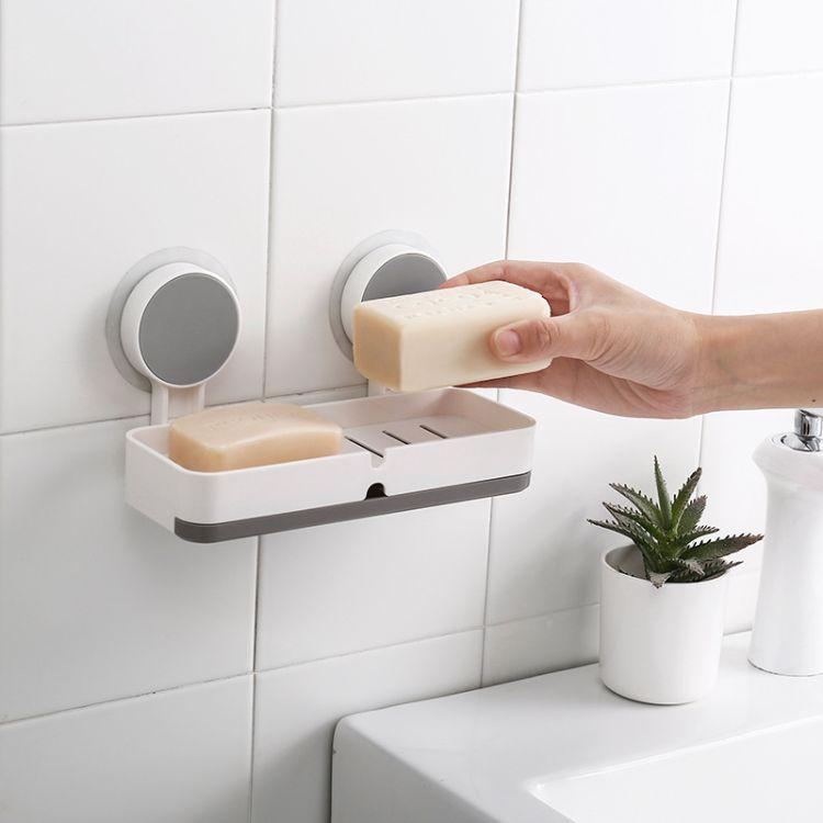 吸盘肥皂盒免打孔大号双格 可沥水厨房浴室多功能收纳架 厂家直销