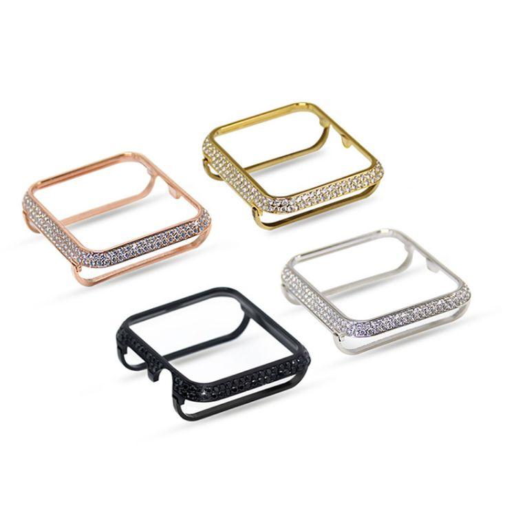 适用于Apple Watch手表一二三代保护框 bling闪亮钻石不锈钢表壳