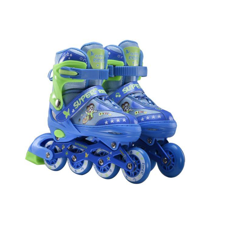厂家批发新款儿童溜冰鞋 PU闪光静音轮直排轮滑鞋调节旱冰鞋男女