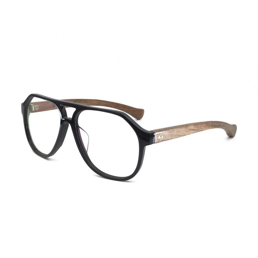 高桥一男男士日韩复古经典爆款双梁板材镜框红木退眼镜批发352A#