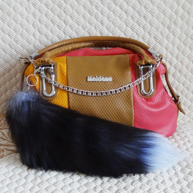 供应国产玄狐狐狸尾巴皮草包包挂件服装配饰道具情趣尾巴40-45cm