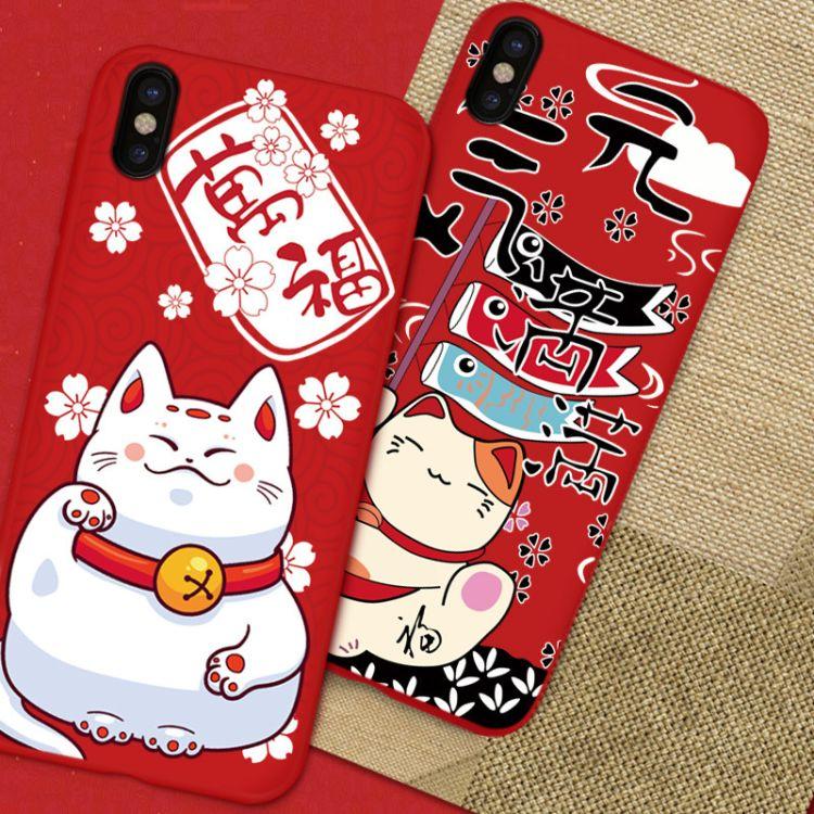 适用苹果X手机壳招财猫iphone8plus创意浮雕卡通时尚6s手机保护套