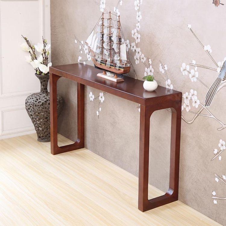 新中式客厅实木玄关桌 桌条角案窄边条几玄关台居家门厅长条供桌