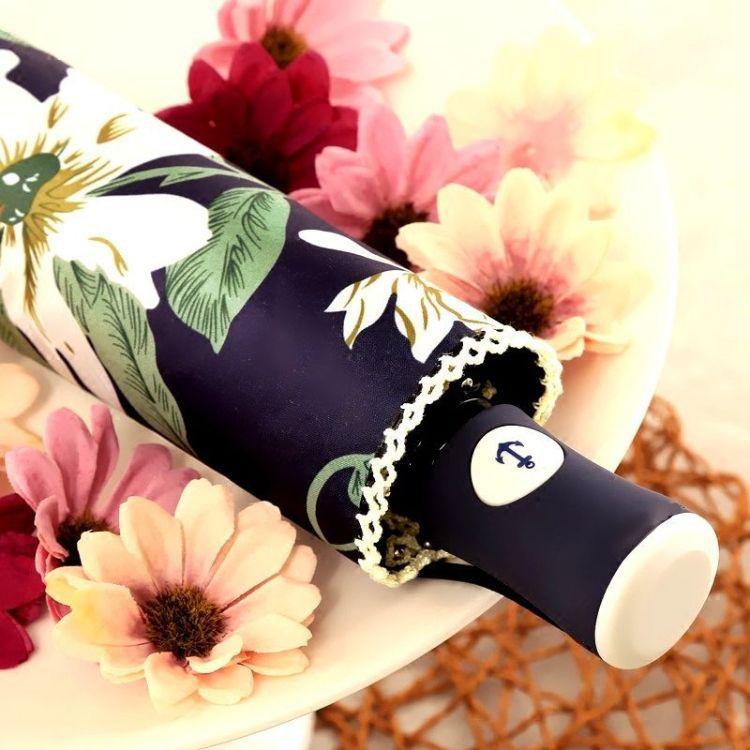 小清新百合花黑胶防晒晴雨伞三折两用遮阳伞创意韩国折叠太阳伞女
