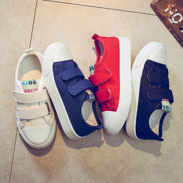 小白鞋品牌童鞋一件代发 儿童帆布鞋 厂家直销 纯色基本款亲子鞋