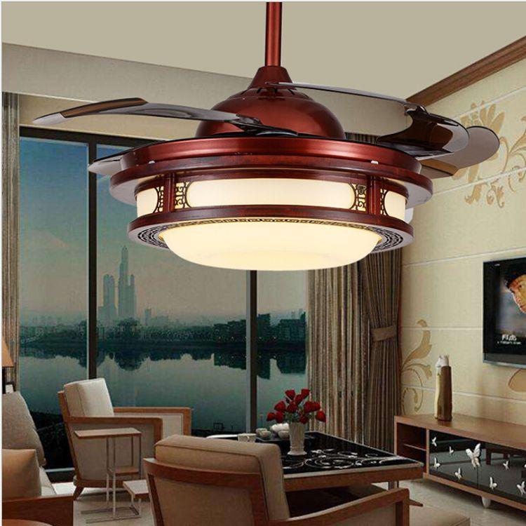 42寸中式古典LED风扇灯隐形吊扇灯客厅书房卧室餐厅仿古风扇吊灯