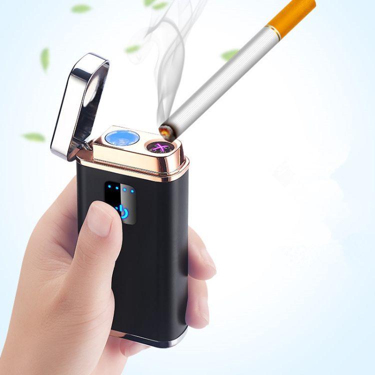 创意款USB打火机充电多功能照明灯手机充电宝电子点烟器双电弧
