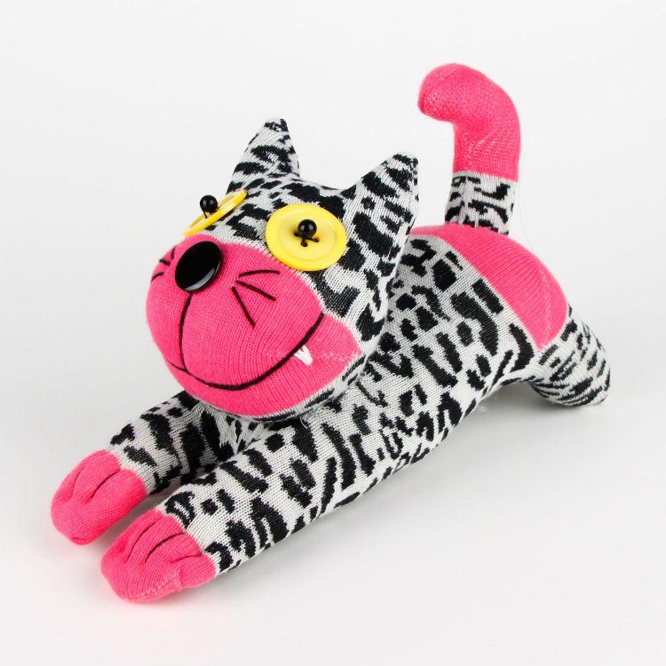 豹纹猫袜子娃娃玩偶公仔DIY成品创意玩具批发厂家直销