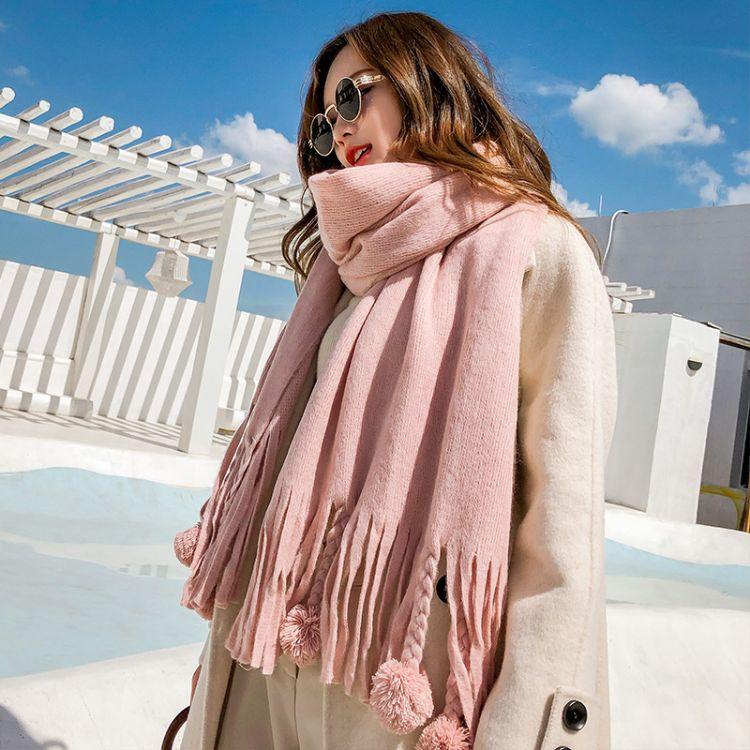 秋冬新款韩版纯色仿羊绒球球围巾女冬季学生百搭加厚保暖披肩批发