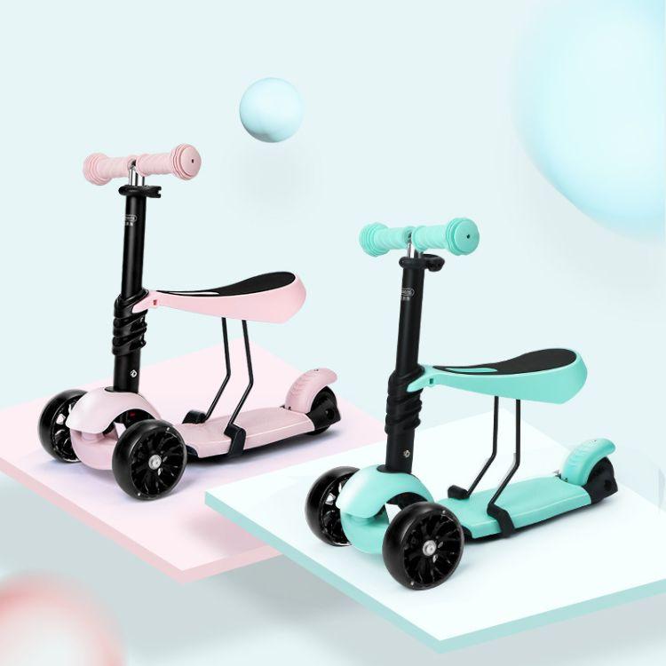 贝恩施儿童滑板车可坐三轮儿童车闪光轮宝1-3-6岁滑滑车滑行车