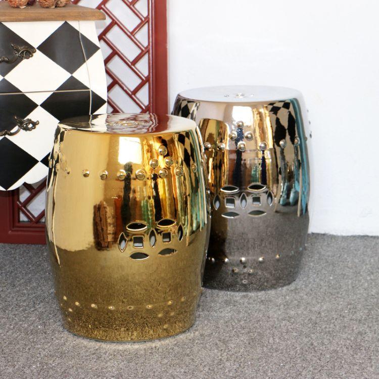 景德镇现代欧式陶瓷鼓凳 镀金镀银 金色银色 瓷墩 瓷凳 鼓墩 圆凳