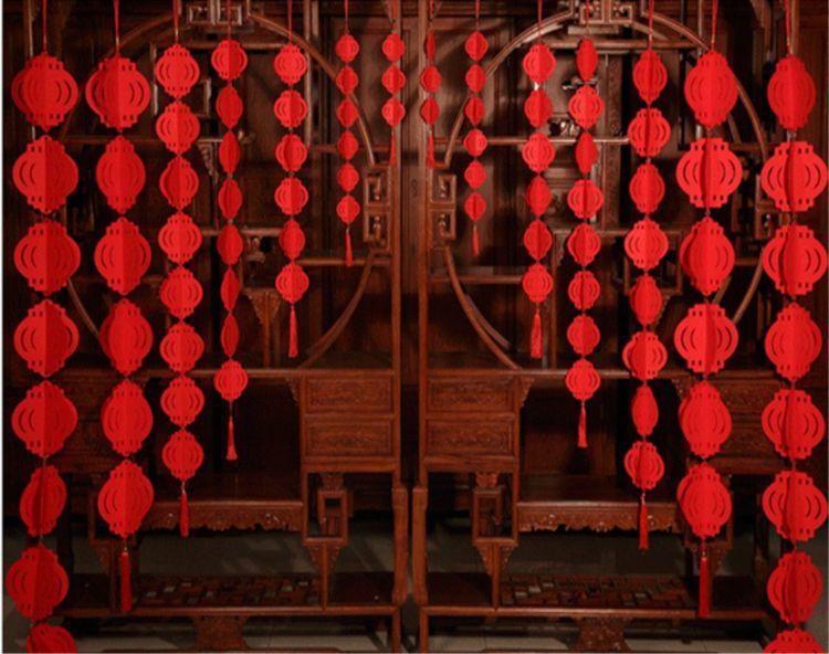 毛毡布小灯笼挂饰春节新年元旦节日喜庆结婚装饰用品小红灯笼串