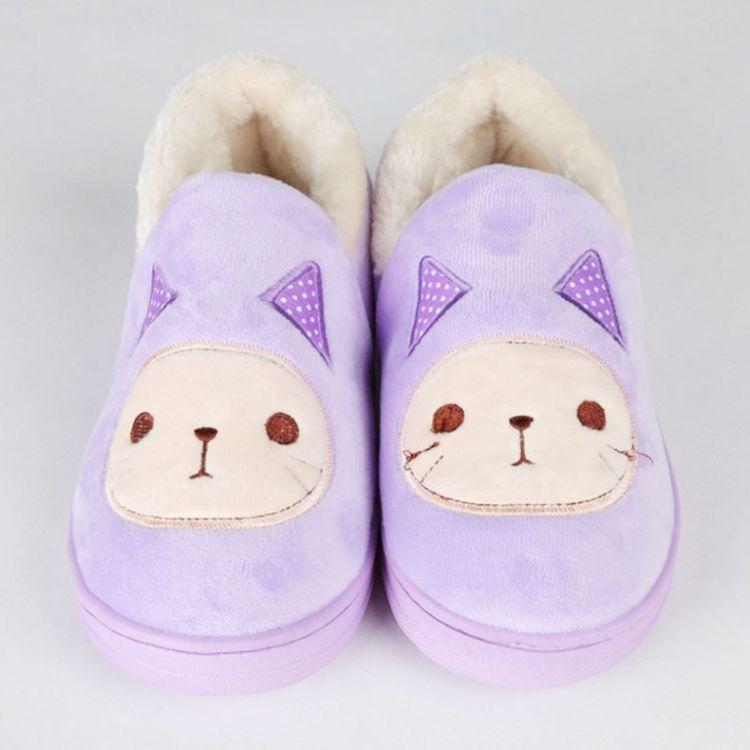 2017秋冬新款可爱防滑小怪兽包跟棉鞋 舒适保暖加厚室内居家棉鞋