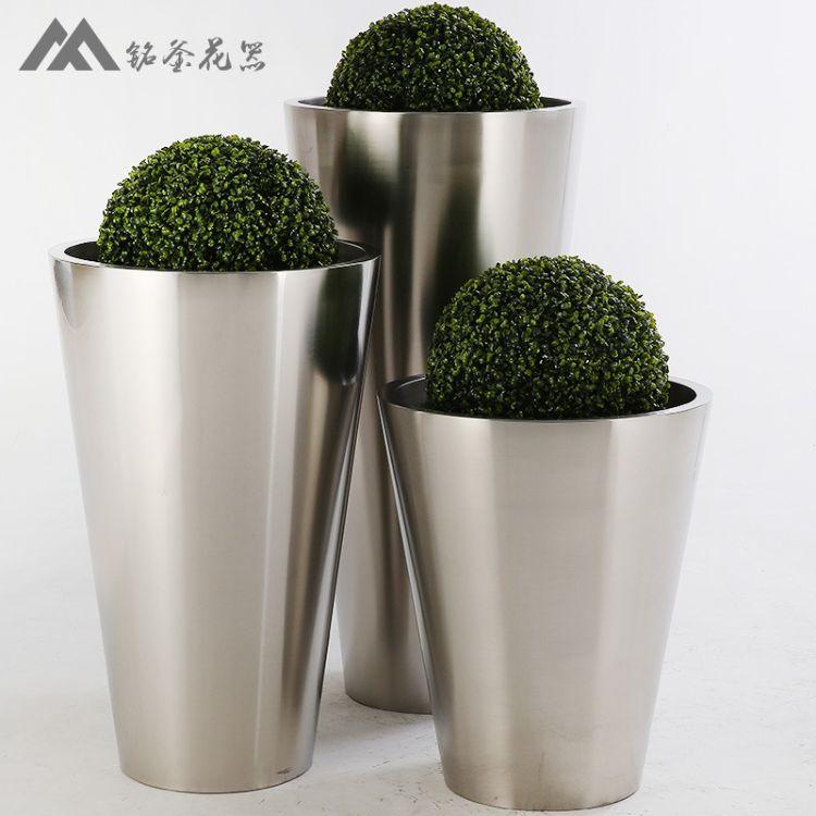 金属花器 圆锥形花盆 不锈钢花钵 金色花器 落地花瓶 艺术花瓶