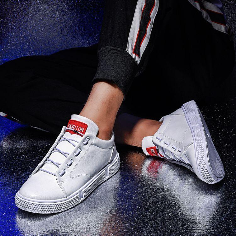 爆款秋季男士板鞋时尚休闲男鞋韩版潮流运动小白鞋系带百搭低帮鞋