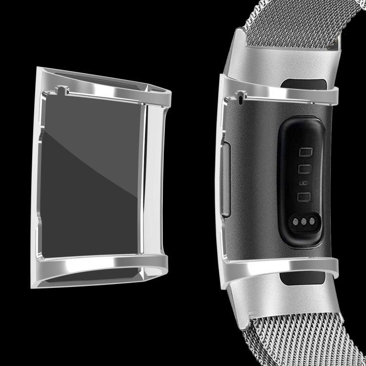 适用fitbit charge 3智能手环charge3硅胶电镀保护套TPU防摔壳