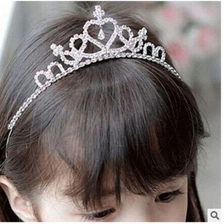 韩国儿童皇冠头饰发箍卡女童发夹公主王冠小女孩舞蹈演出水钻饰品