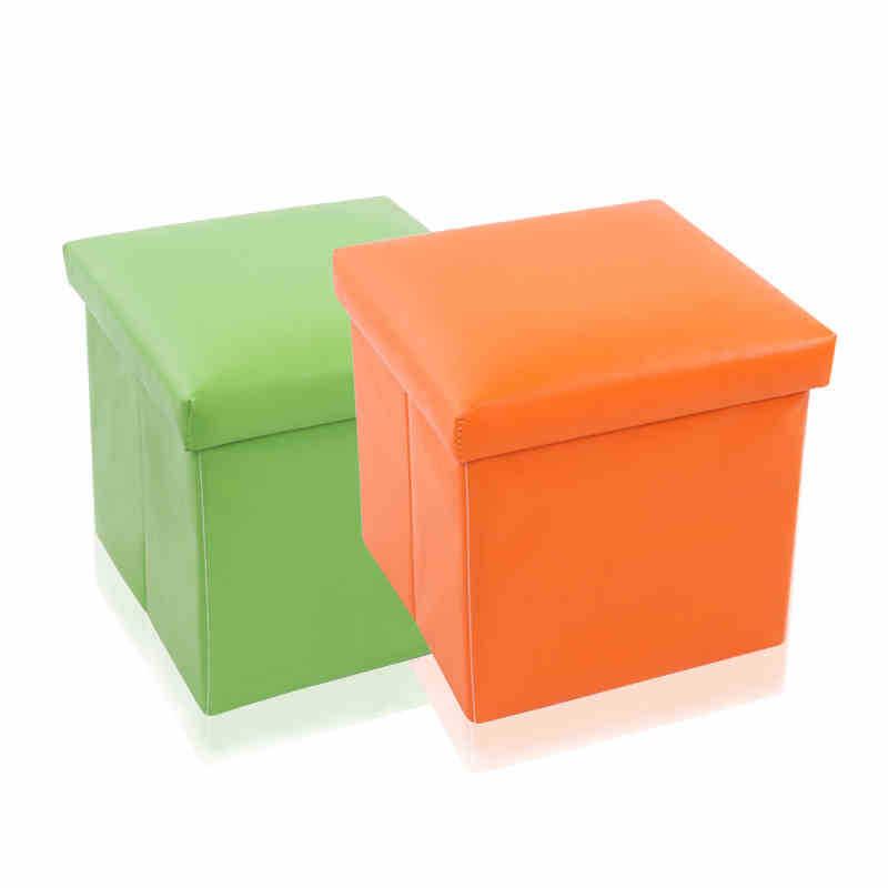 新款热销加强PU皮收纳箱 简约纯色折叠收纳凳储物整理凳 厂家直销
