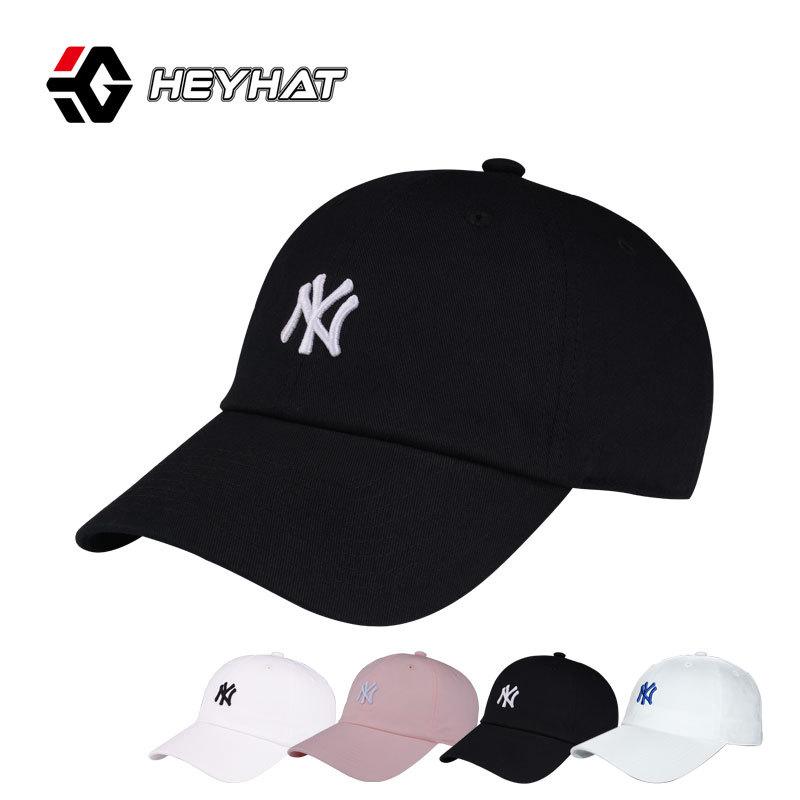 棒球帽女韩版潮款小标NY帽子夏季软顶帽纯棉休闲帽明星同款情侣帽
