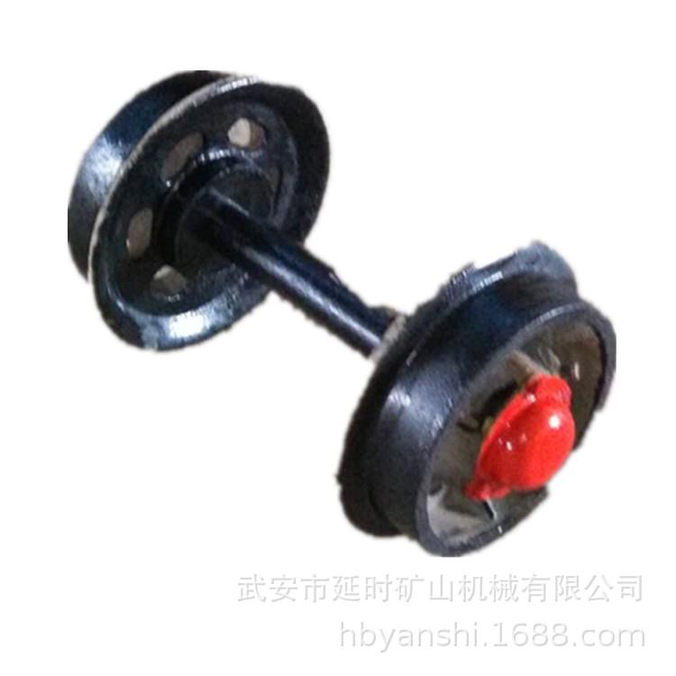 专业加工 加长轴矿车轮 带卡簧矿车轮对 铸钢轨道轮