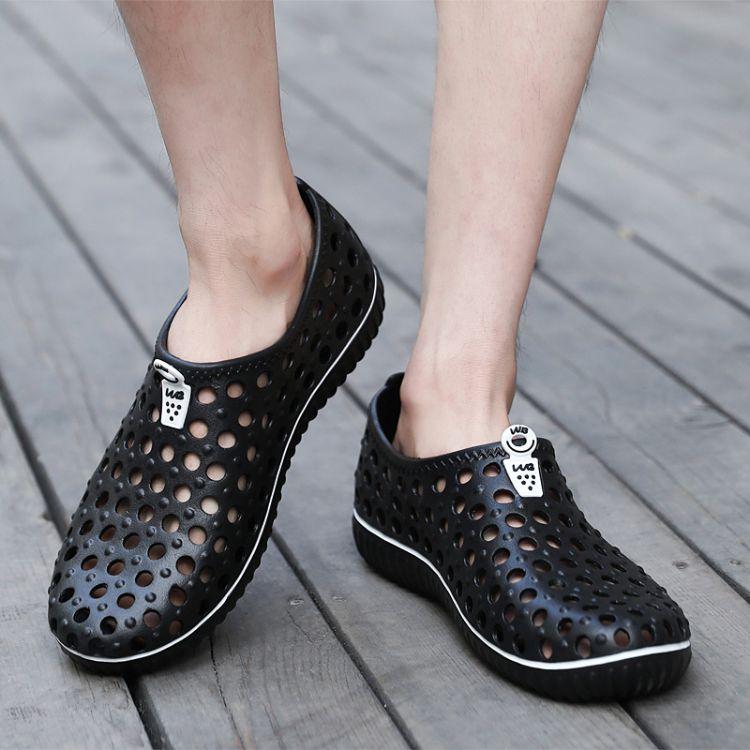新款轻便时尚男士洞洞鞋舒适透气青少年休闲鞋沙滩防滑凉鞋厂价批