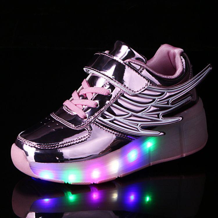 跨境专供发光暴走鞋童鞋超轻自动款男女童轮滑鞋LED翅膀鞋灯鞋成