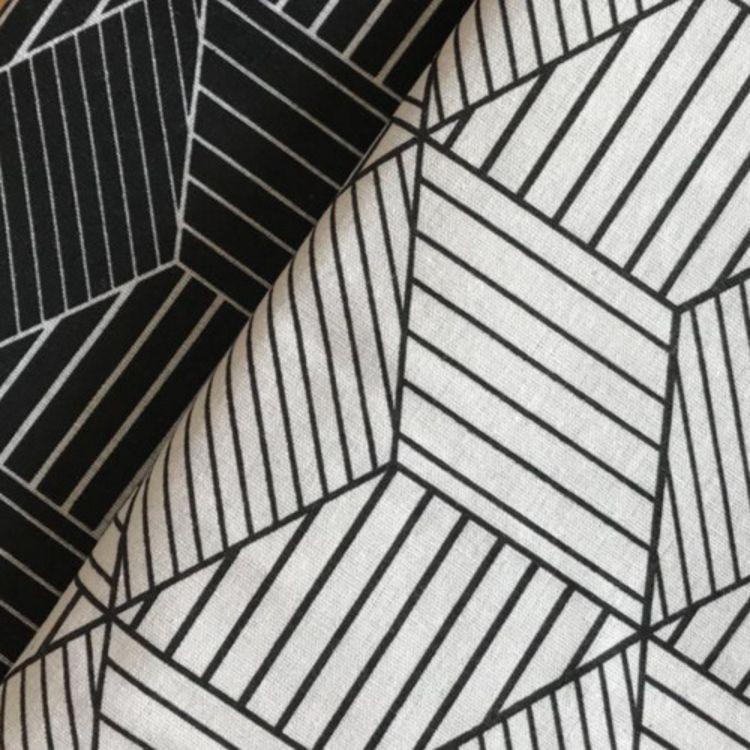 厂家直销 新款几何棉麻布料 不规则几何图案 亚麻布料背景布