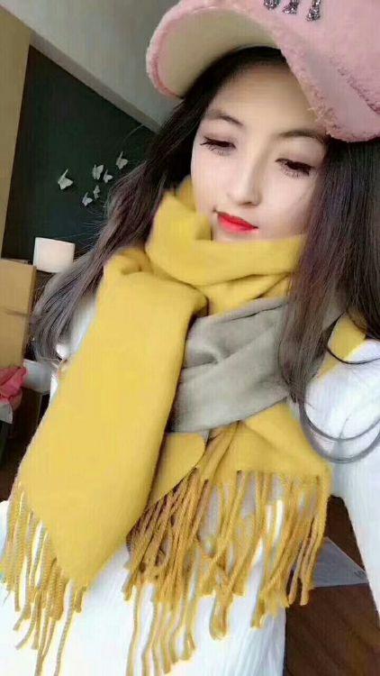罗子君同款秋冬新款双面双色仿羊绒围巾披肩