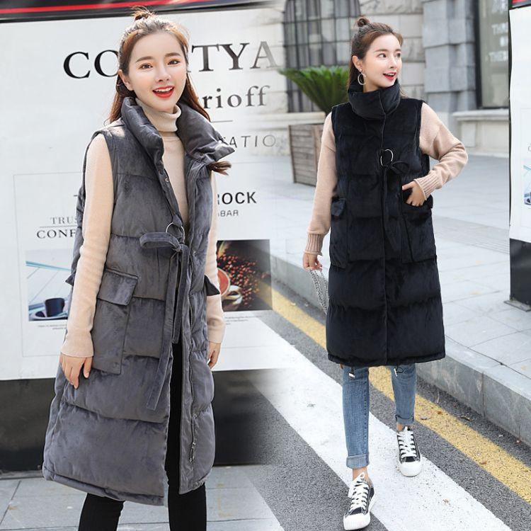 2018棉马甲女秋冬新款欧美时尚显瘦中长款金丝绒马夹保暖棉服外套