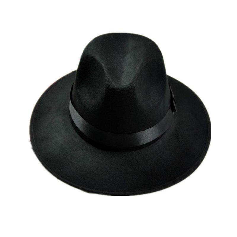 春秋冬季男女士复古毛呢太阳帽英伦大沿帽子羊毛毡帽跳舞表演礼帽