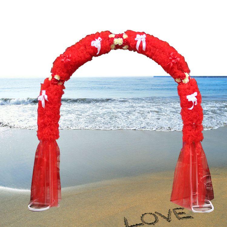 绢花红色开业店庆 婚庆花拱门 庆典装饰 婚礼心形拱门架批发
