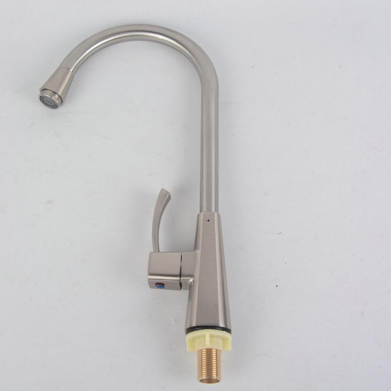廠家生產批發-定制廚房水槽龍頭-不銹鋼拉絲單水龍頭-拉絲合金體單水龍頭