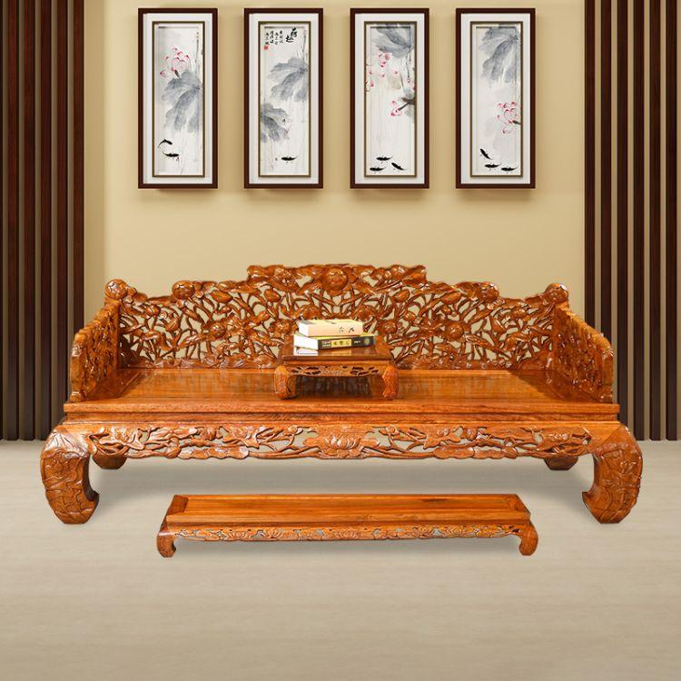 红木罗汉床睡塌三件套缅甸花梨木深雕刻罗汉床沙发实木中式多功能