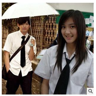 单独衬衫男女学生初中高中大学毕业班服长袖短袖白衬衫领带套装