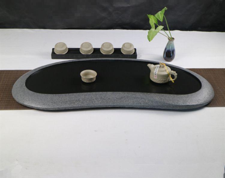 茶盘简约家用乌金石茶盘大号小号黑金石茶海天然石材茶具石头茶台