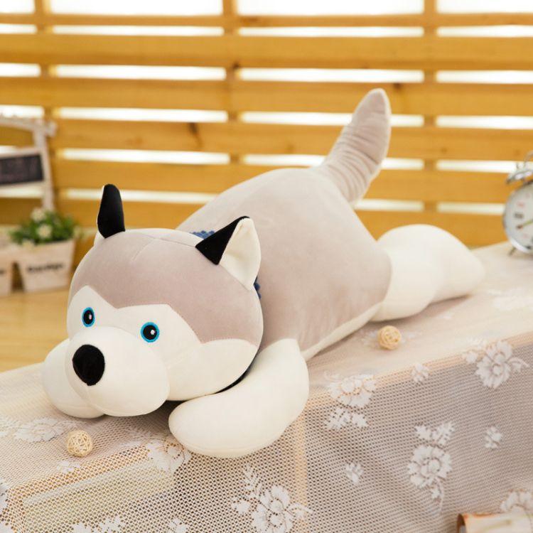 可爱软体羽绒棉毛绒玩具哈士奇雪橇犬公仔趴趴狗儿童生日礼物