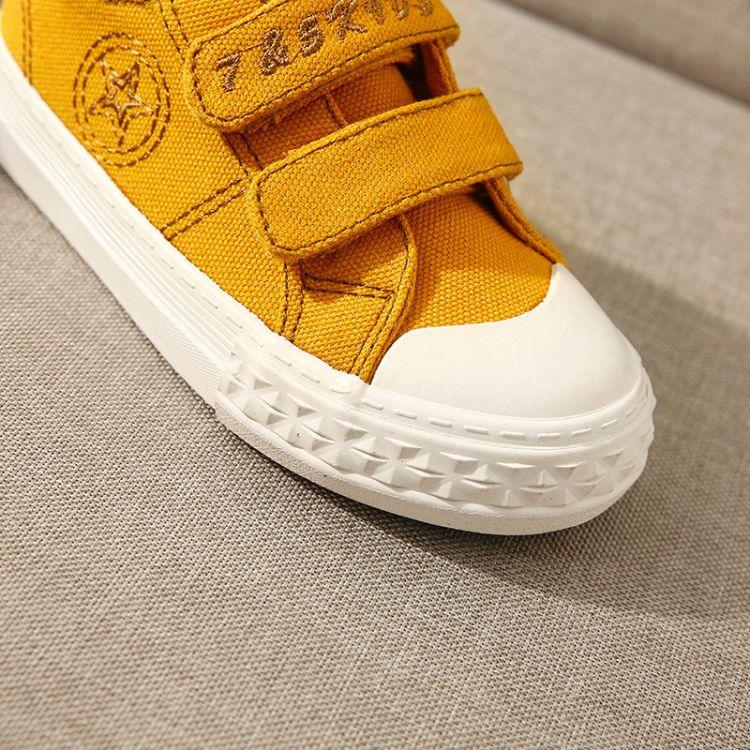 75童鞋春季新款纯色低帮休闲帆布鞋防滑耐磨幼儿园魔术贴男女童鞋