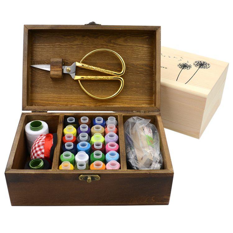 复古风实木针线盒针线套装缝纫手缝家用收纳盒创意礼品现货