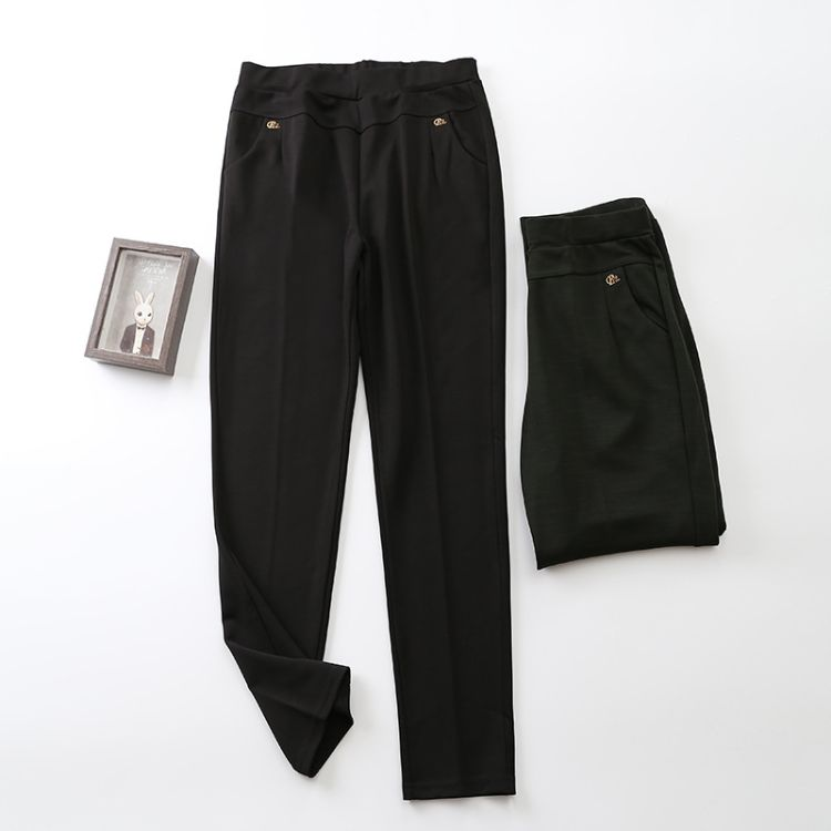 秋季新品多丽丝中老年大码直筒裤女长裤通勤休闲裤加肥奶奶裤