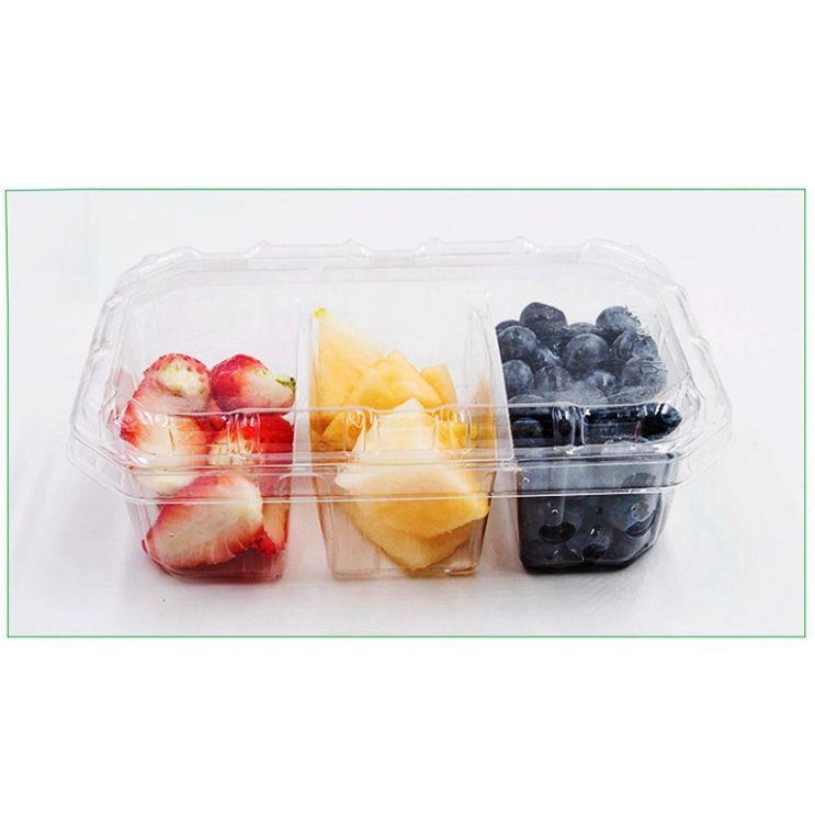 鲜果拼盘包装 蔬果乐 三分格 水果切盒新品盖底分开水果外卖盒117